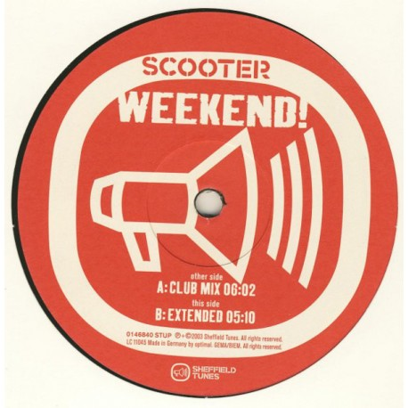 Scooter - Weekend! - Maxi Vinyl 12 inches - Techno Trance