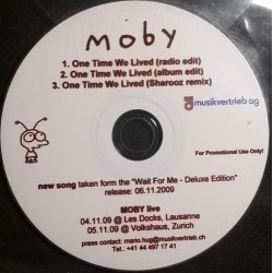 Moby ‎- One Time We Lived - CDr Single Promo