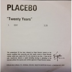 Placebo ‎- Twenty Years - CDr Promo Single