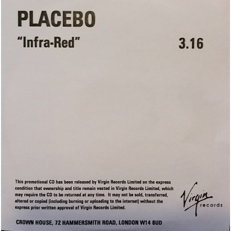 Placebo - Infra-Red - CDr Single Promo