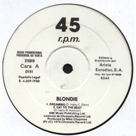 Blondie & Amii Stewart – Dreaming - Eat To The Beat - Jealousy - He's A Burglar - Maxi Vinyl Promo