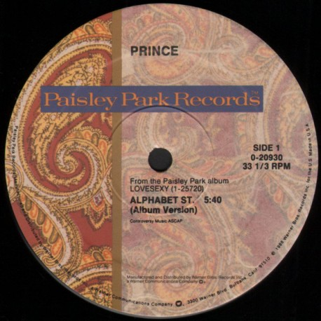 Prince – Alphabet St. - Maxi Vinyl 12 inches USA