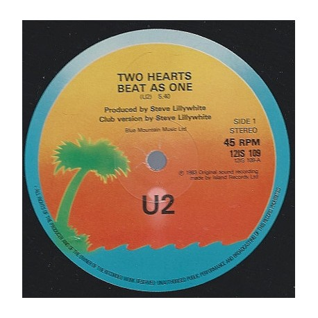 U2 – Two Hearts Beat As One - Club Version - Maxi Vinyl 12 inches
