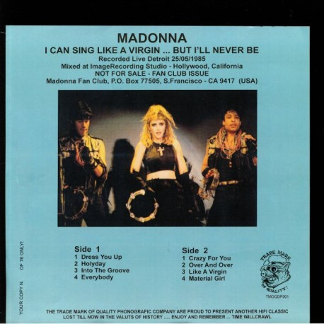 Madonna - I Can Sing Like A Virgin But I'll Never Be An Angel - LP Vinyl Album