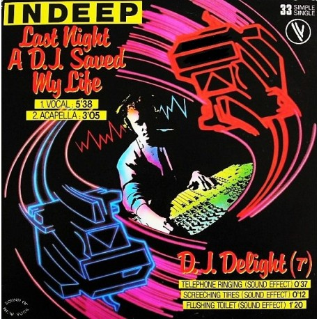 Indeep ‎– Last Night A D.J. Saved My Life - Maxi Vinyl 12 inches